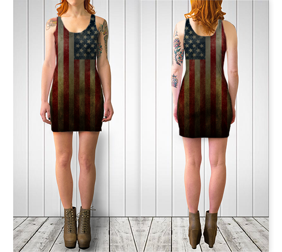 Image of Grunge Flag Bodycon Dress