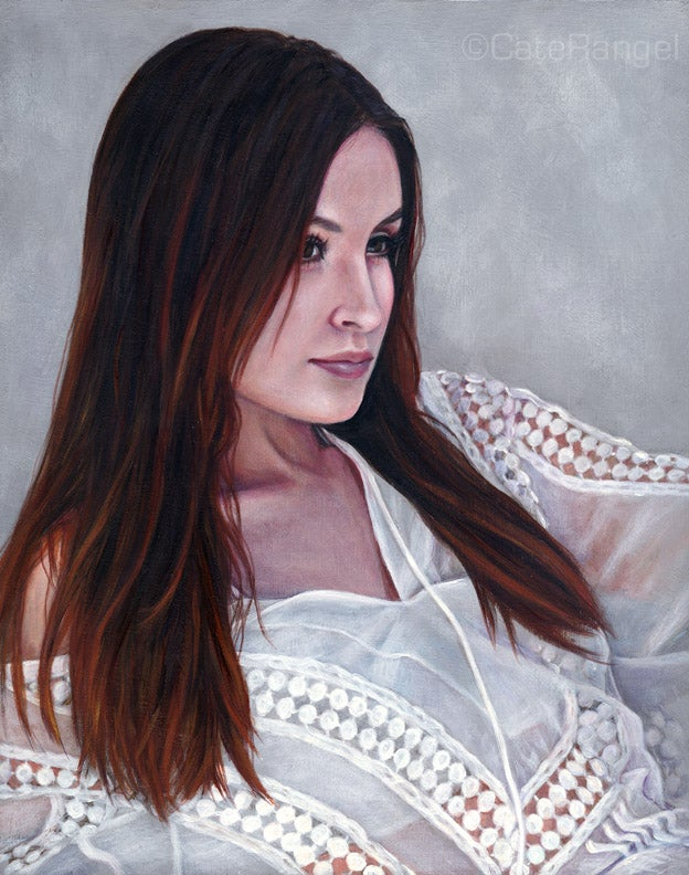 Image of Original Painting - Vanessa in White Blouse