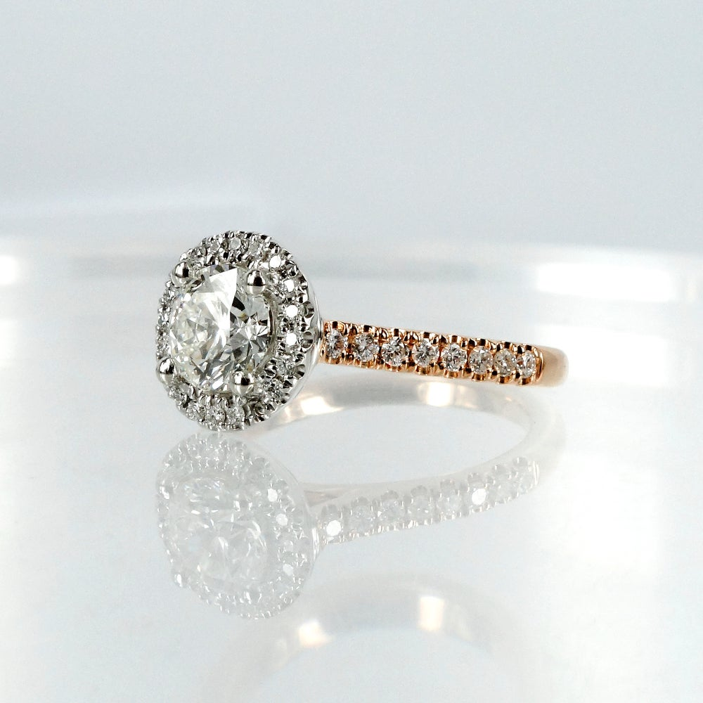 Image of 18ct Rose and White Gold Halo Style Cluster Engagement Ring.