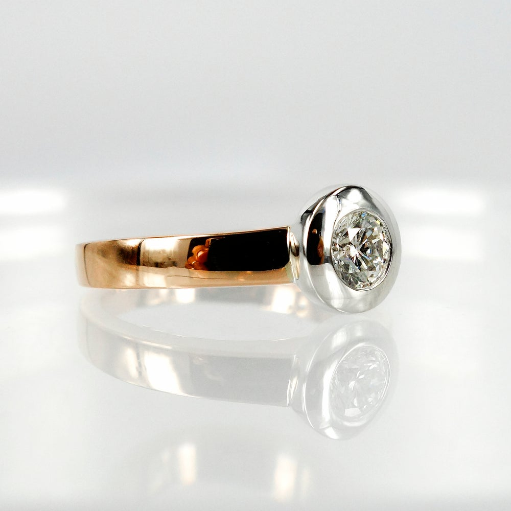Image of 18ct White and Rose Gold Bezel Set Solitaire Diamond Ring.