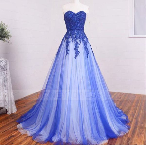 Image of Blue Lace Appliques Tulle A Line Evening Dresses,Evening Gown With Floor Length