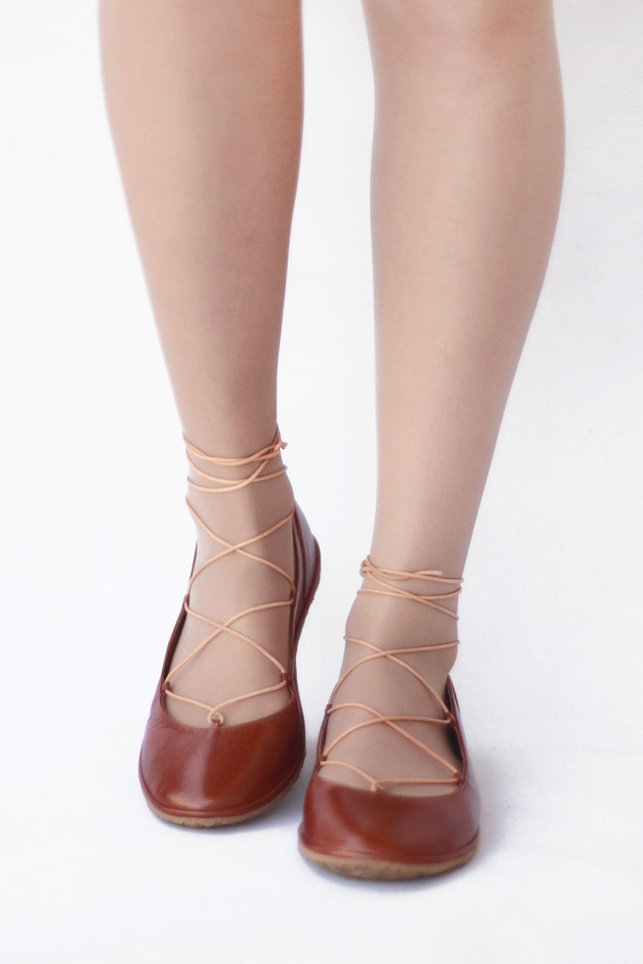 Image of Lace up ballet flats in Warm Brown