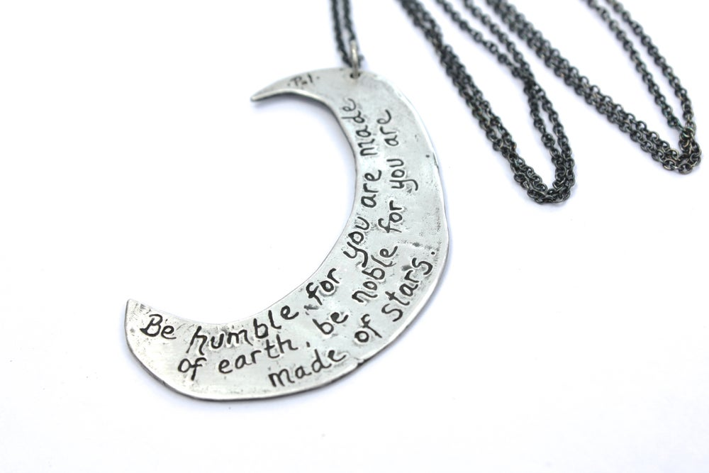 Image of large crescent moon necklace . sterling silver by peacesofindigo