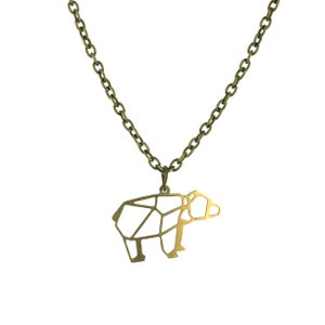 Image of Geometric Bear Charm Necklace