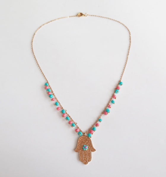 Image of Hamsa Turquoise and Salmon Single Necklace