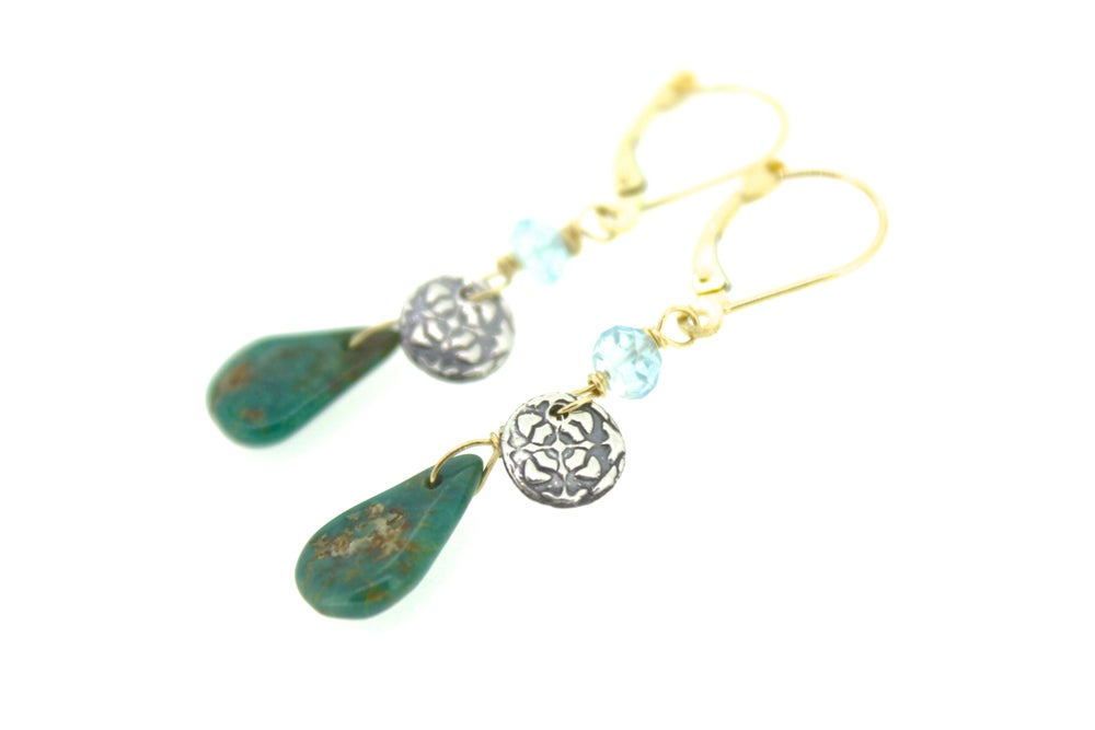 Image of Campo Frio turquoise and aquamarine earrings . 14k yellow gold