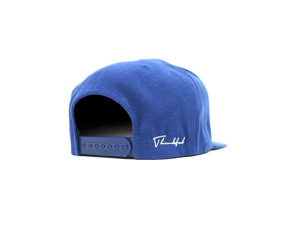Image of OLD ENGLISH (ROYAL BLUE) THANKFUL SNAP BACK