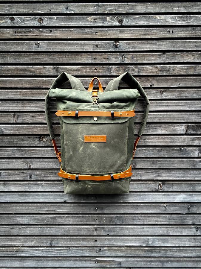 Image of Waxed canvas rucksack/backpack with roll up top and waxed canvas padded shoulderstraps