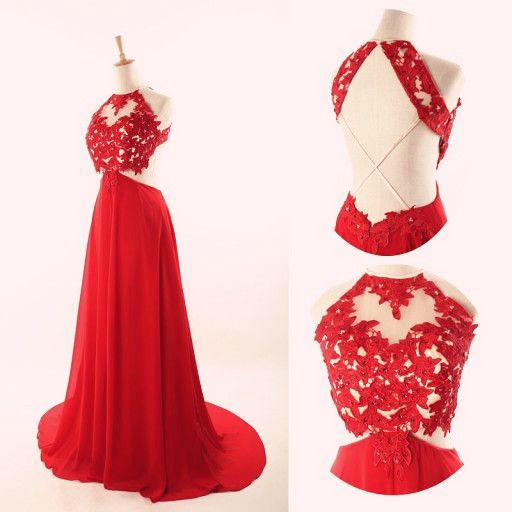 73d7e1aae25 Image of Lovely Red Halter Cross Back Chiffon Long Prom Dresses, Red Prom  Dresses, ...