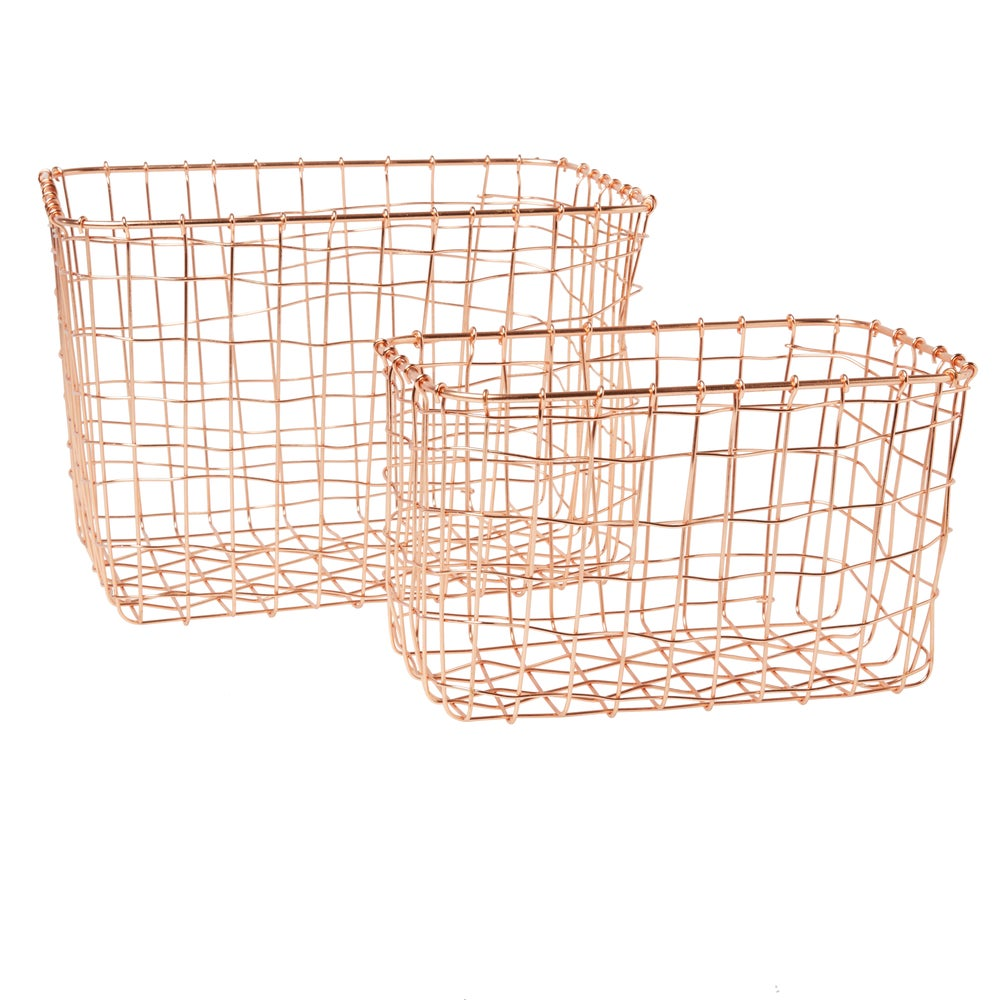 Image of Copper Wire Baskets Set of 2