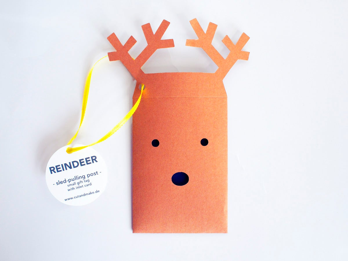 Image of 4 x Reindeer Envelope Gift Tag
