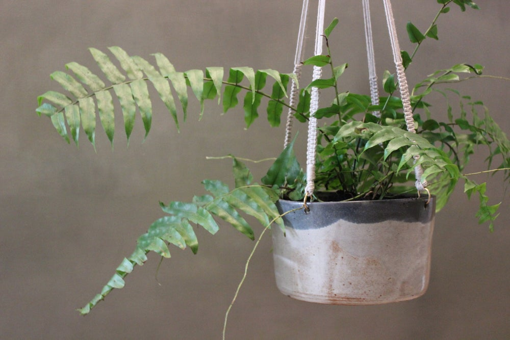 Image of Stoneware Macrame Hanging Planter Large