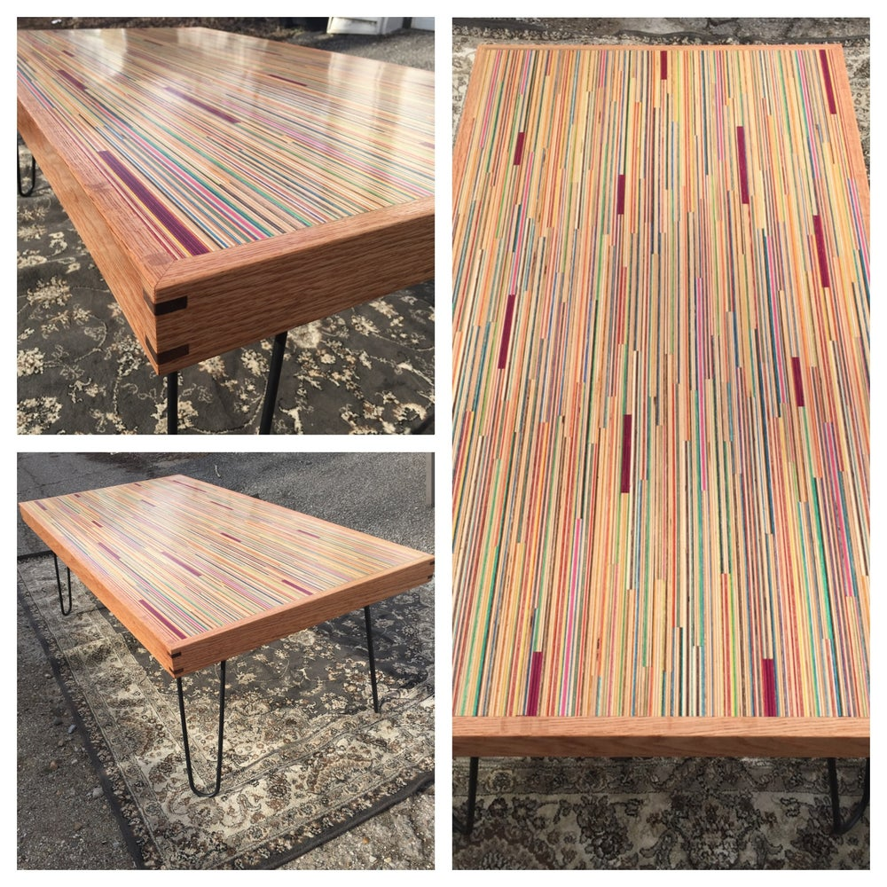 Image of Recycled skateboard Table.