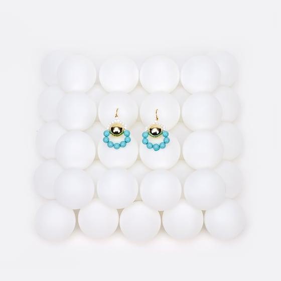 Image of Gold ice blue loop a loop earrings