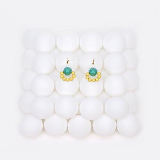 Image of Mint lemon loop a loop earrings