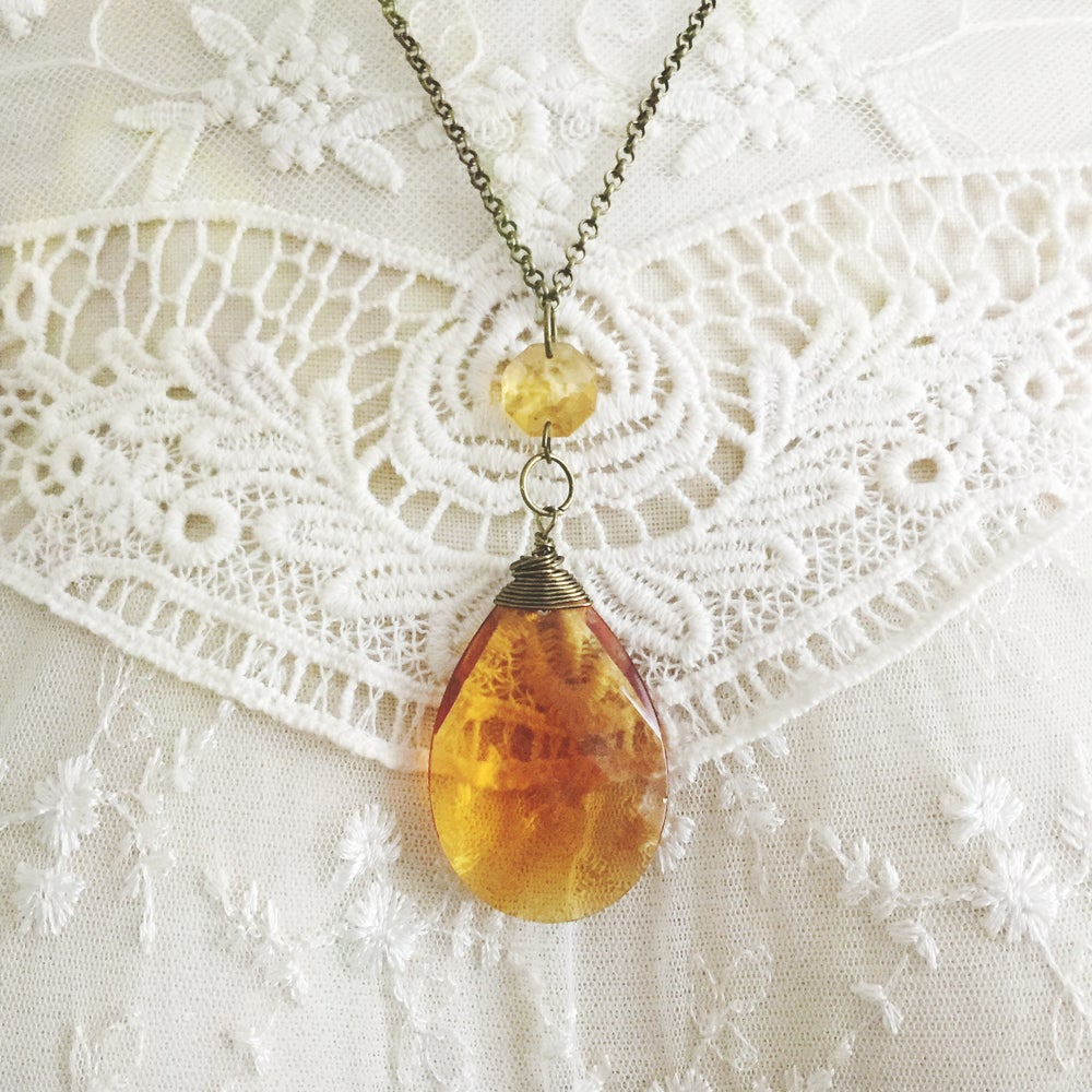 Image of Amber Crystal Pendant Necklace