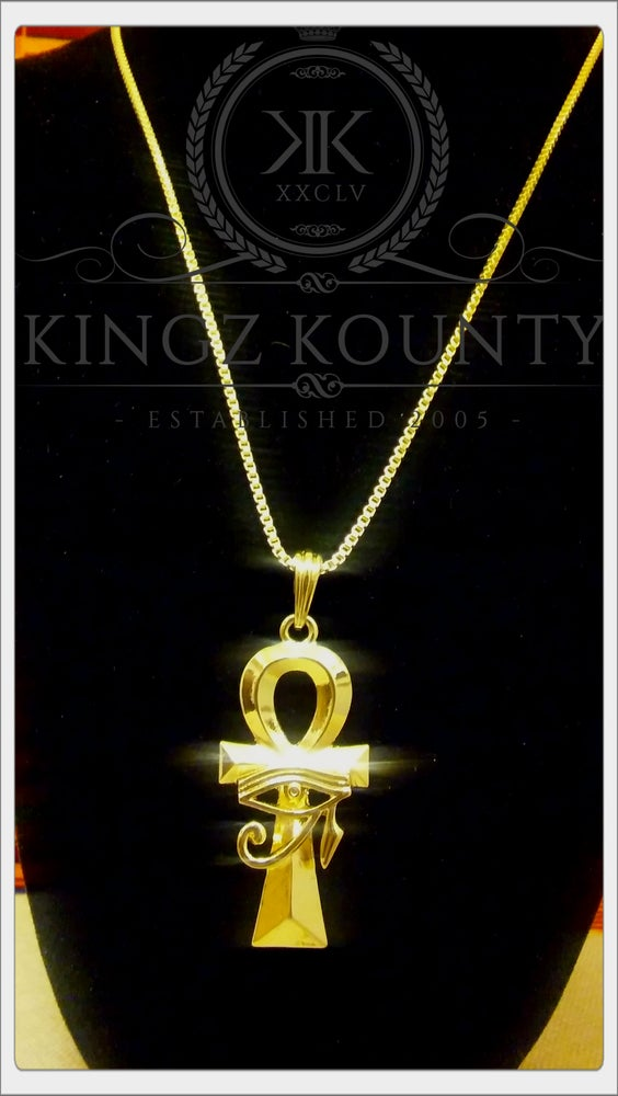 Image of GOLD AHNK & EYE OF HERU NECKLACE