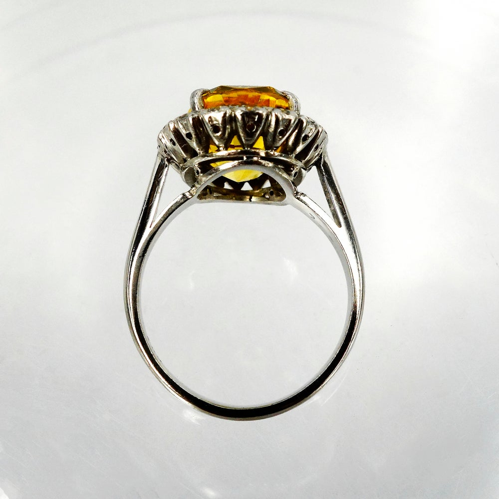 Image of 18ct White Gold Handcrafted Golden Sapphire Oval Cluster Cocktail Ring.