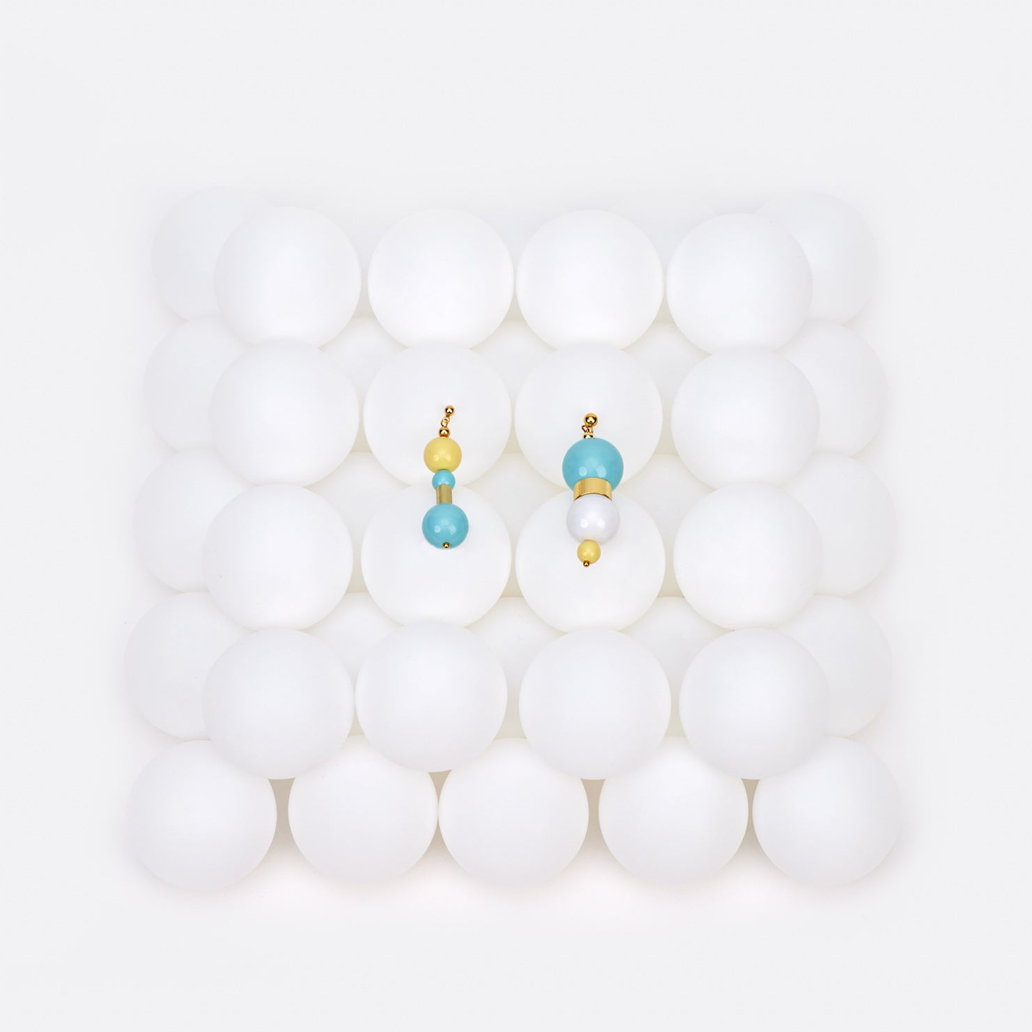 Image of Ice blue lemon bubble gum earrings
