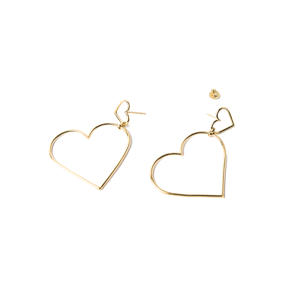 Detalle de Broken Wire Double Heart earrings
