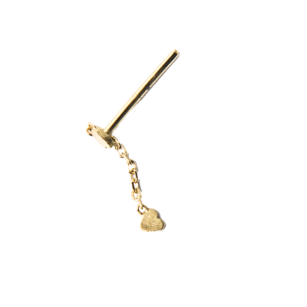 Imagen de Single Broken Double Heart chain stud earring