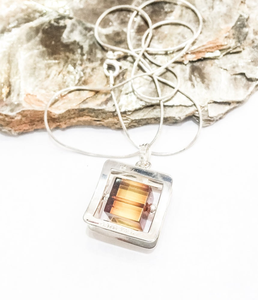 Image of Signed 925 Silver Ostrowski Amber Pendant