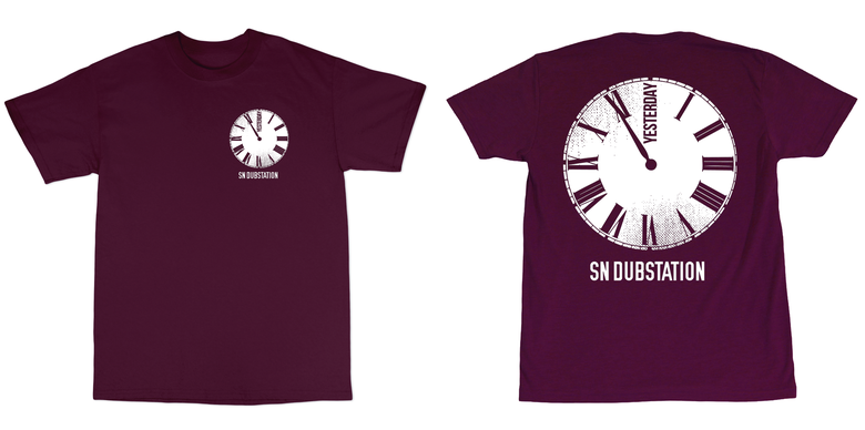 Image of BURGUNDY YESTERDAY/CLOCK FRONT AND BACK PRINT