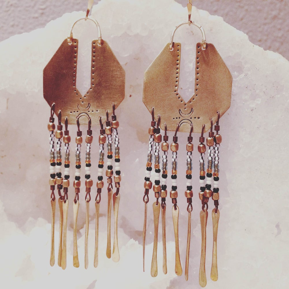 Image of Serpentina Brass Fringe Earrings Multi Colored Beads