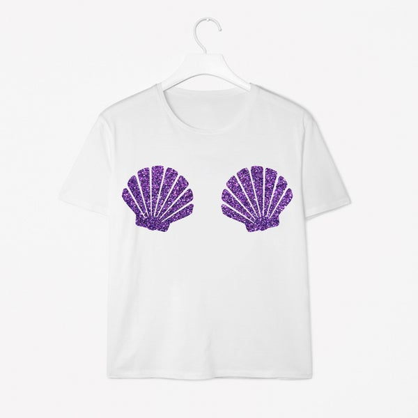 Image of Purple Shell Mermaid White Tee