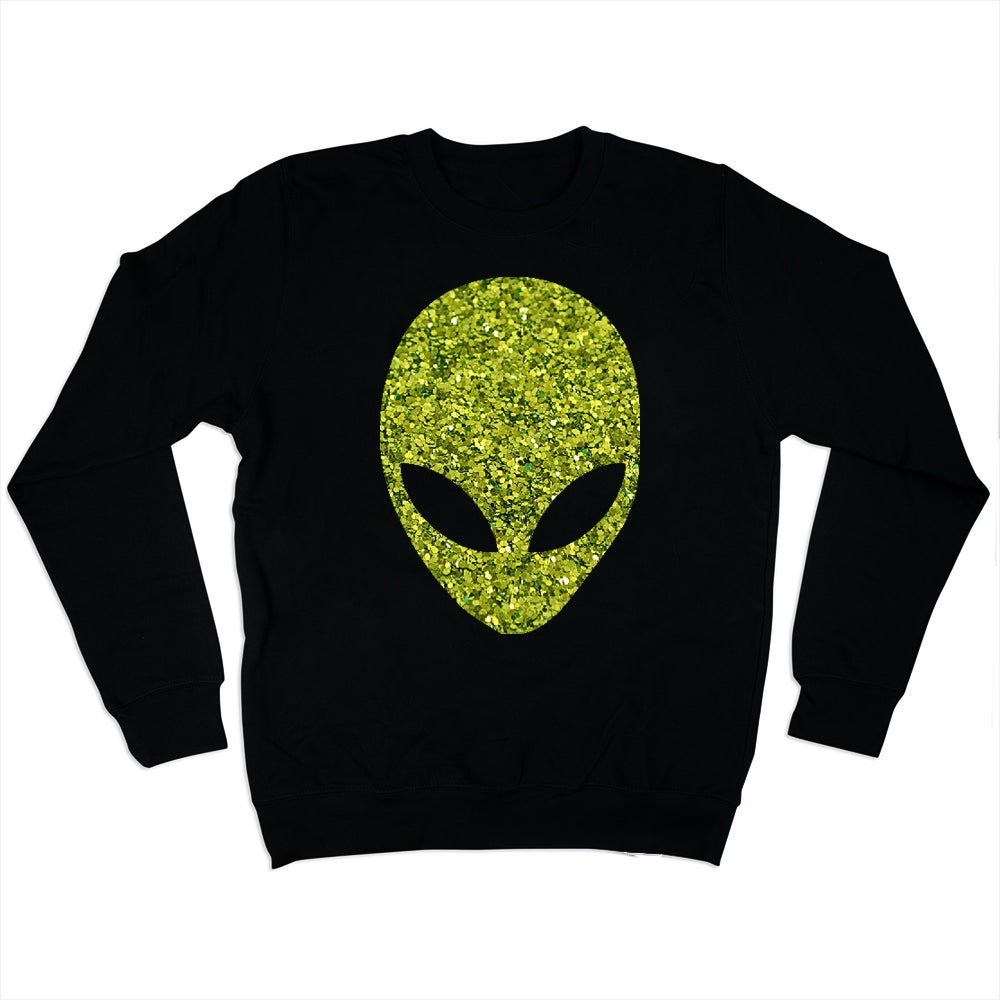 Image of Lime Green Alien Glitter Black Sweatshirt