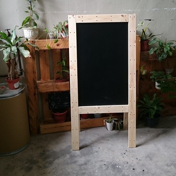 Image of Medium Double Sided Standing Chalkboard with Pinewood Frame (90cm X 60cm)