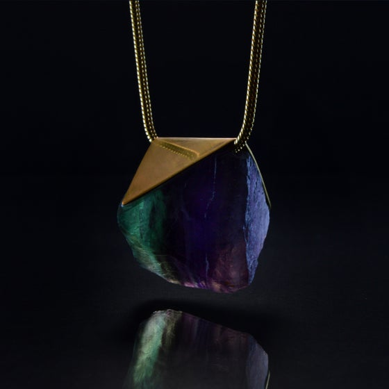 Image of AURORA necklace // Fluorite Rainbow crystal