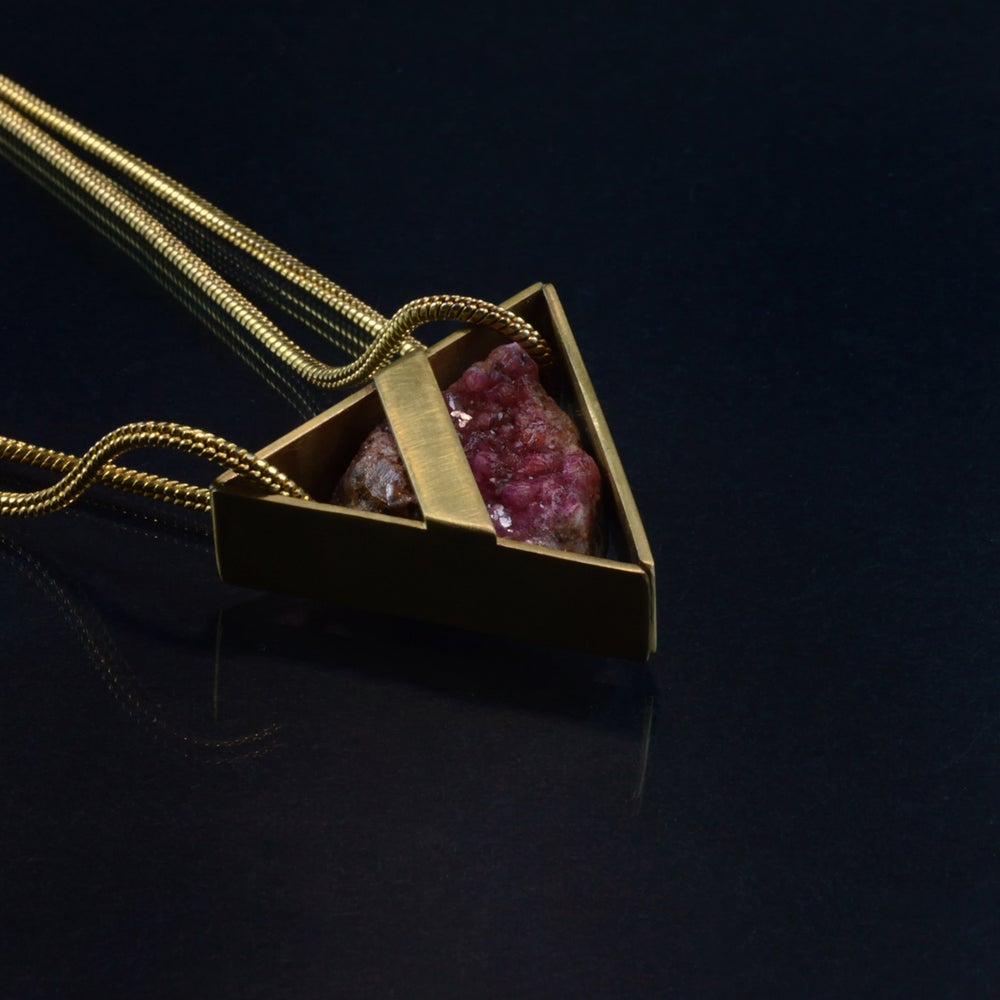 Image of AMOUR-PROPRE necklace // Cobaltian Calcite crystal