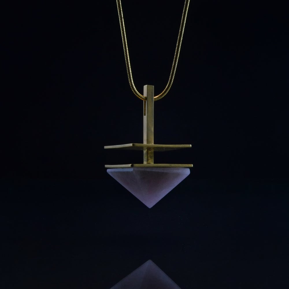 Image of LOVE CONNECTION necklace // Rose Quartz pyramid crystal
