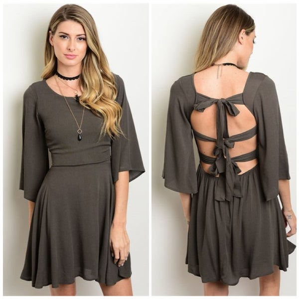 Image of Dark Olive Backless Dress