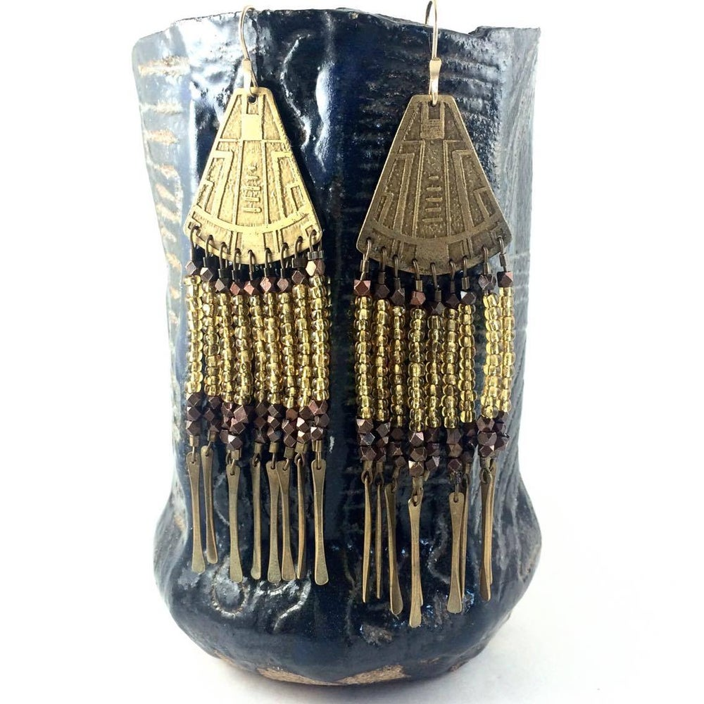 Image of Portal Earrings w/Gold Beads