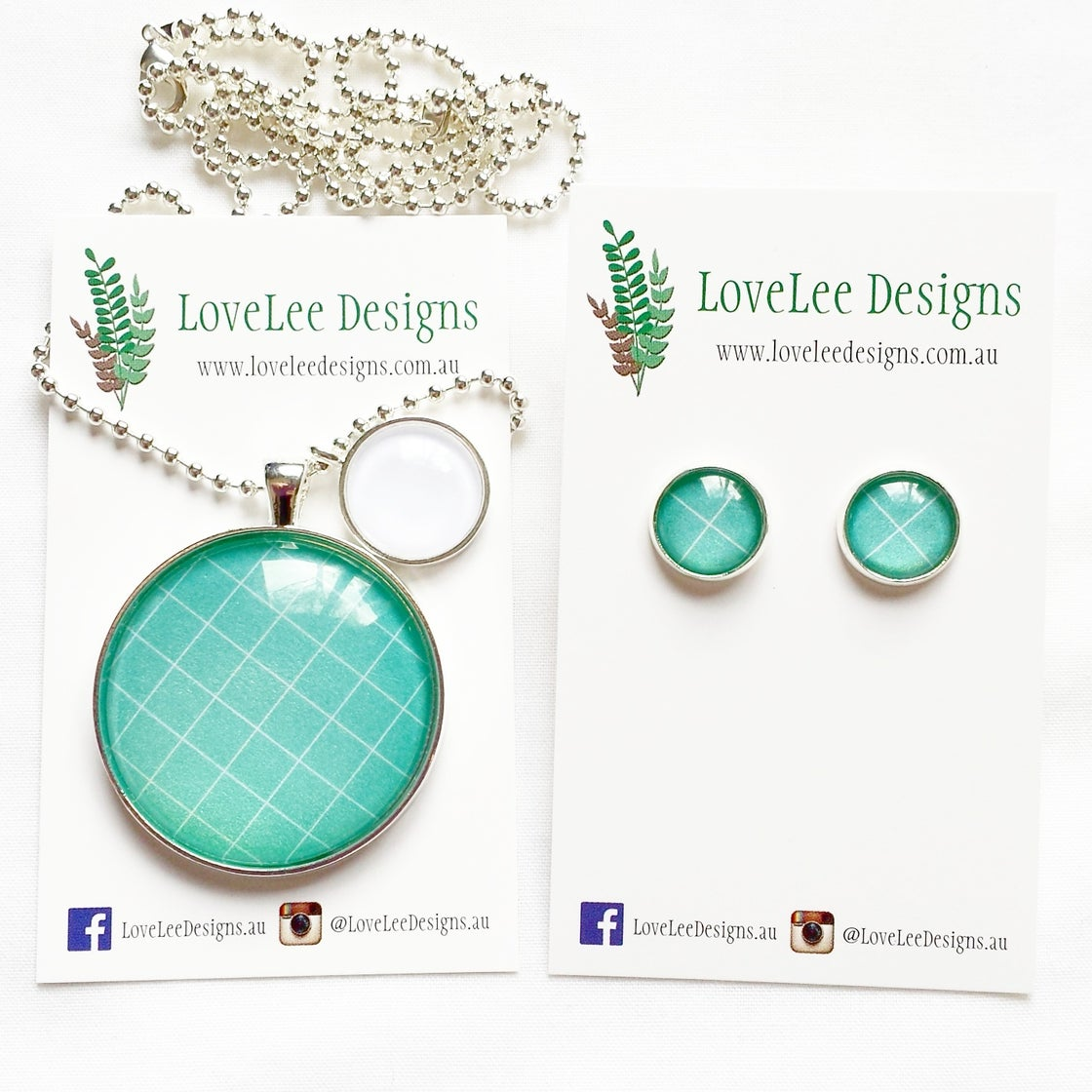 Image of Gift Set - Sea green grid