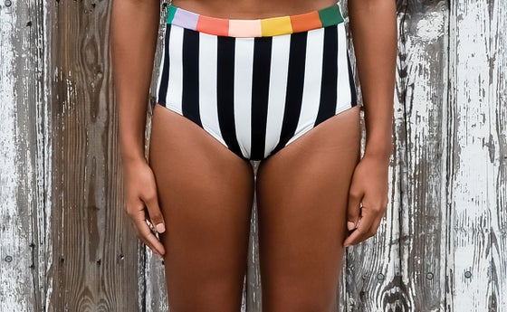 Image of •high waist• brief: summer stripe