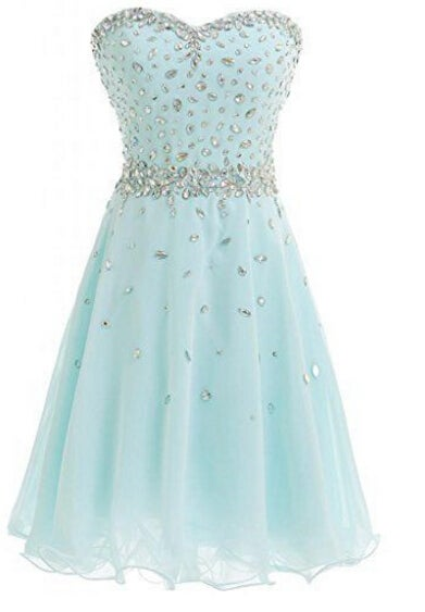 Cute Handmade Short Mint Blue Beaded Homecoming Dresses, Party Dresses
