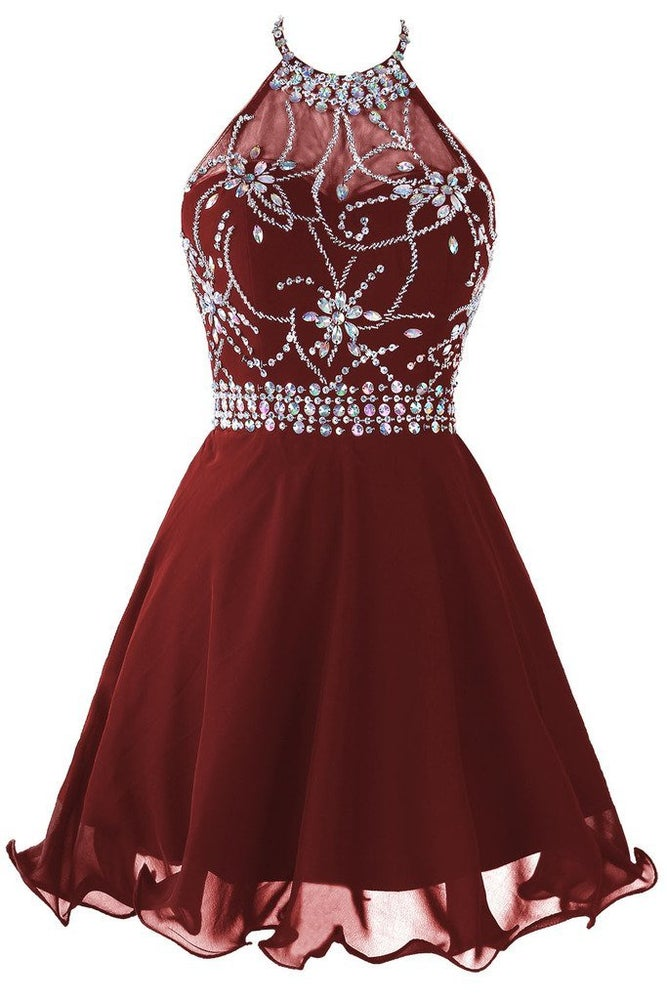good service great variety models official sale Cute Burgundy Short Chiffon Halter Prom dresses with Beadings, Homecoming  Dresses