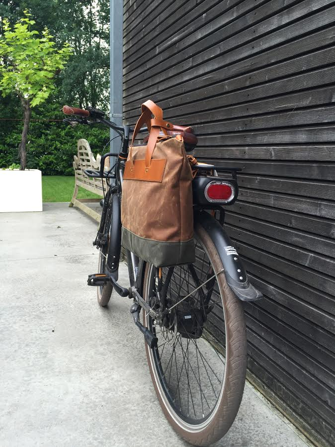 Image of Waxed canvas pannier bicycle bag bike accessories