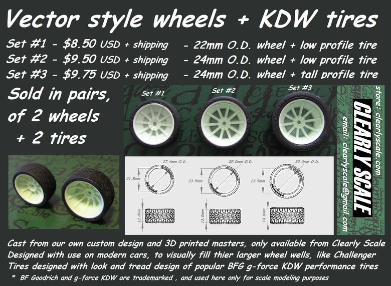 Image of Vector style Wheels + KDW Tires Sets