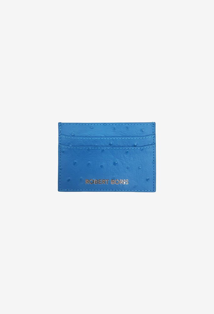 Image of Card Holder - Blue Ostrich Embossed
