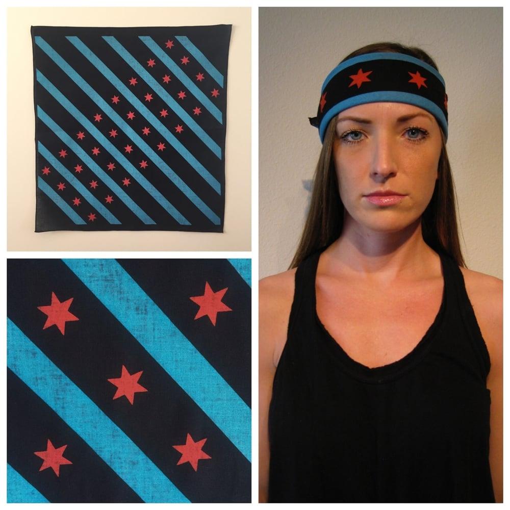 Image of Black Chicago flag bandana