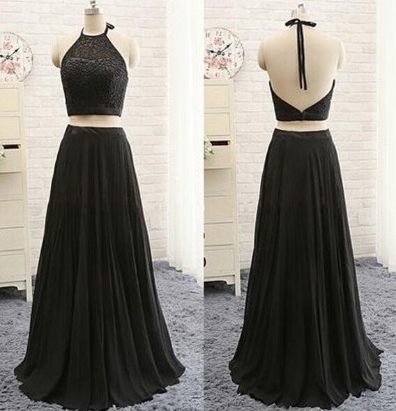 Beautiful Black Two Piece Prom Dresses with Beadings, Homecoming Dresses, Party Dresses