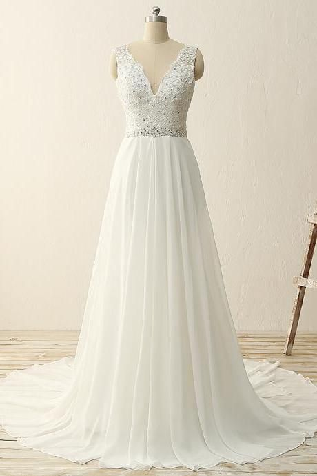 Charming White Chiffon V-neckline Prom Gowns with Beadings, Wedding Dresses, Party Dress