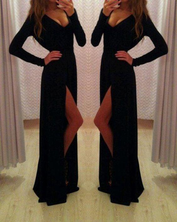 Elegant Black Spandex Long Sleeves Prom Gowns, Black Formal Dresses