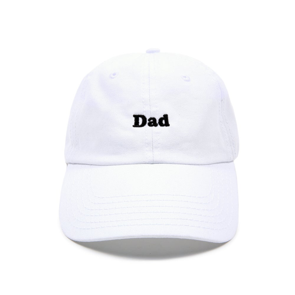 "Image of ""DAD"" Low Profile Sports Cap - White"