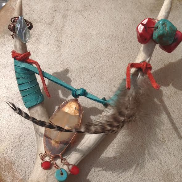 Image of Shamanic Healing Wand~Turquoise, Red Coral, Green Aqua Aura Quartz point, Rooster Feather