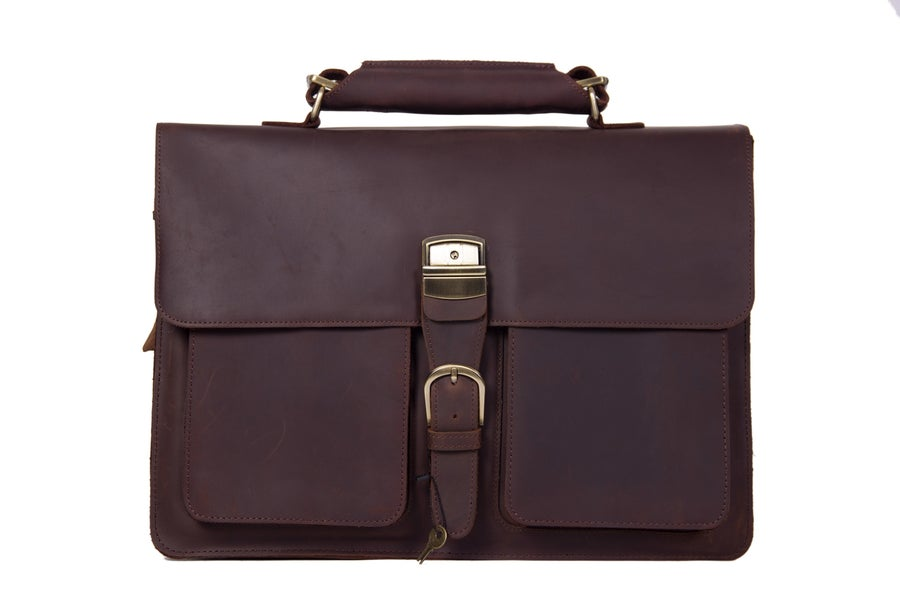 Image of Handmade Vintage Leather Briefcase Men Messenger Bag Laptop Bag 1031